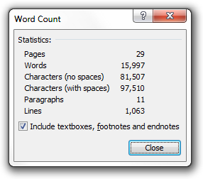 Ebook Word Count